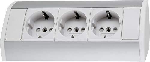 Opbouw aluminium stekkerdoos 3-voudig - horizontaal + verticaal - 230 V 3680 W - wit-zilver