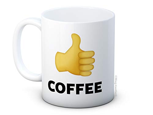 mug-tastic Like Coffee – Emoji Thumbs Up Keramik-Kaffeetasse, Geschenk