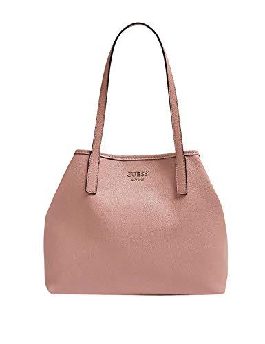 Guess Borsa shopping da donna in ecopelle goffrata di colore rosa con chiusura bottone magnetico, pochette interna e doppio manico. BIOSABORSE