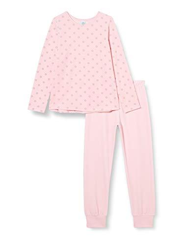 Sanetta Mädchen Sorbet Kuscheliger Nicki-Schlafanzug in Rosa dezenten Sternen-Alloverprint, 128