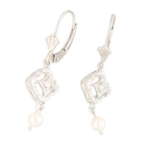 Jollys Jewellers - Pendientes de oro blanco de 14 quilates con perlas y diamantes (8 x 17 mm) para mujer