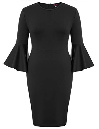 Hanna Nikole Women's Plus Size 3/4 Bell Sleeve Pencil Crew Neck Slim Bodycon Dress Black 22W