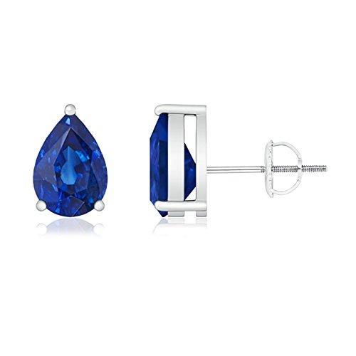 Colgante de–tres púas de pera Azul Zafiro Stud Pendientes para las mujeres