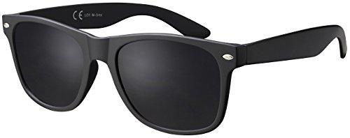 La Optica B.L.M. Sonnenbrille Herren Retro Vintage UV 400 CAT 3 CE Damen Nerd Sport - Matt Schwarz (Gläser: Grau)