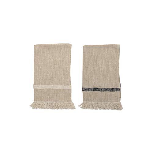 Bloomingville Woven Cotton Striped Tea Towels with Tassels (Set of 2) Handtücher, Baumwolle, Natur