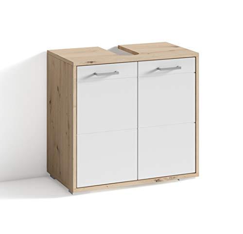 Homexperts LIDO Waschbeckenunterschrank, Melamin, Weiß-Eiche, 60 x 59 x 31,5cm (BxHxT)
