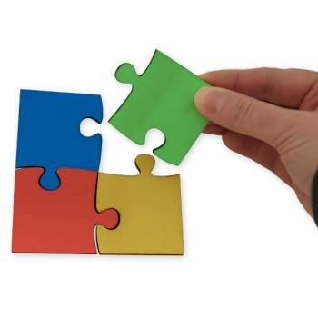 TimeTEX Gruppen-Puzzle aus Holz, 16-tlg., 4-farbig Jigsaw-Methode