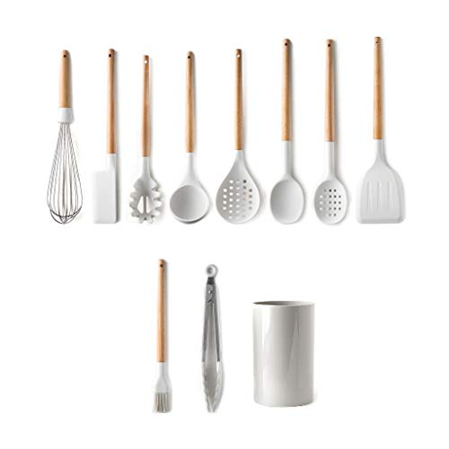 NRR Utensilios de Cocina Conjunto Utensilios de Cocina de Silicona - Herramientas de Cocina Resistente al Calor Handle Hands Spoons Utensilio de Cocina con Soporte, Blanco