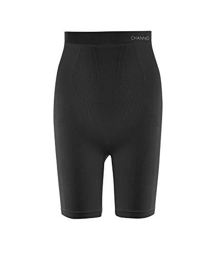 Channo Faja pantalón Reductora sin Costuras, con diseño Frontal Brocado. Tejido Fuerte, Suave y elástico. (Negro, XL/XXL)