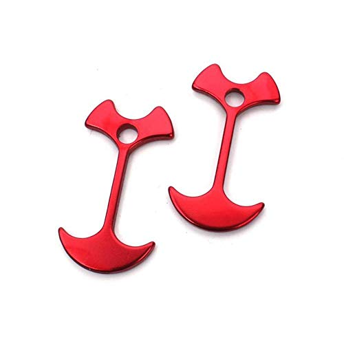 アンカー型ロープフック 2個セット 【レッド】 軽量アルミ合金 フィッシュボーン型フック 抜けにくい形状 自在金具 ガイラインバックル テントペグ ロープ固定バックル テント・タープ設営の必需品 FMTANCHFC02
