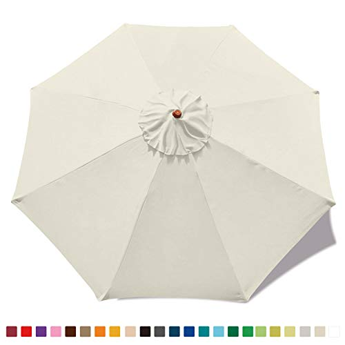 ABCCANOPY 9ft Outdoor Umbrella Replacement Top Patio Umbrella Market Umbrella Replacement Canopy with 8 Ribs(Light Beige)