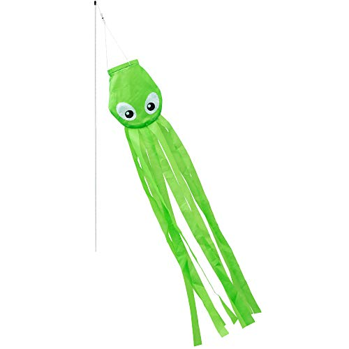 CIM Windsack - Stocktopussy Windsack - UV-beständig und wetterfest - Abmessungen: 75x15x3cm - inkl. Fiberglasstab und Wirbelclip - Tintenfisch - Oktopus - Kinder Stockwindsack (Grün)