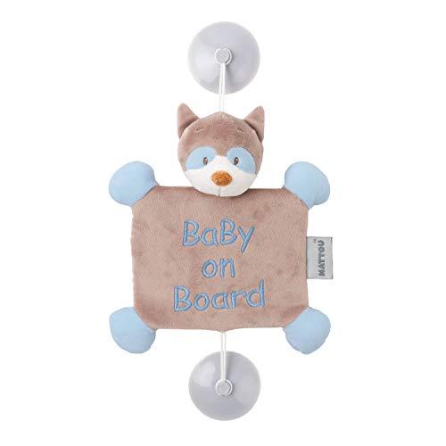 Nattou- Accessorio Baby on Board con Ventosa, Orsetto lavatore, 34 x 20 x 6 cm, Jim e Bob, Grigio/Blu, 333191