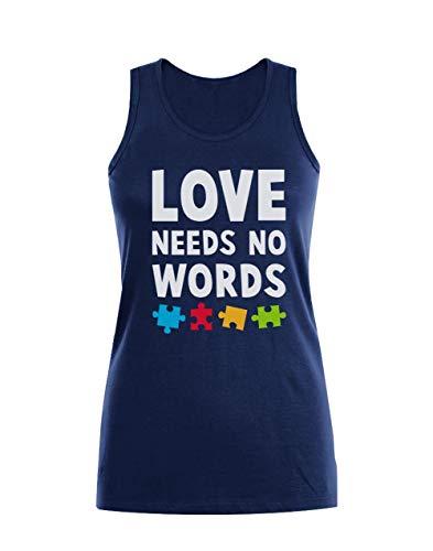 Camiseta sin Mangas para Mujer - Love Needs No Words - Concientizacion Autismo Medium Azul Oscuro