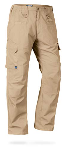 LA Police Gear Men's Water Resistant Operator Tactical Pant with Elastic Waistband - Khaki - 34 x 36