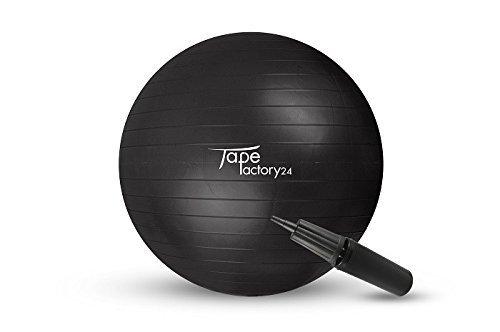 Tapefactory24 Gymnastikball inklusive Pumpe (Gewählte Variante: Schwarz, 85cm) - Hochwertiger Sitz- und Fitnessball von 55 cm bis 85 cm Durchmesser Größen erhältlich