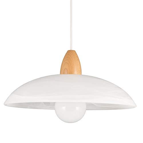 Helios Leuchten 2033610 moderne LED Pendellampe | Hängelampe Leuchte Holz | Pendelleuchte Glas weiss | Küchenlampe Landhausstil | Deckenlampe Buche 1-flammig