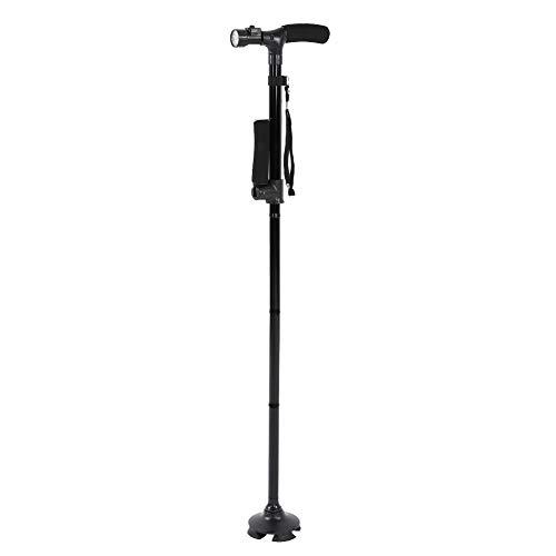 Bastón LED, Antideslizante, portátil, pequeño, de Cuatro Patas, para Ancianos, aleación de Aluminio, para Ancianos, Ciegos, Pacientes con Lesiones en Las piernas ⭐