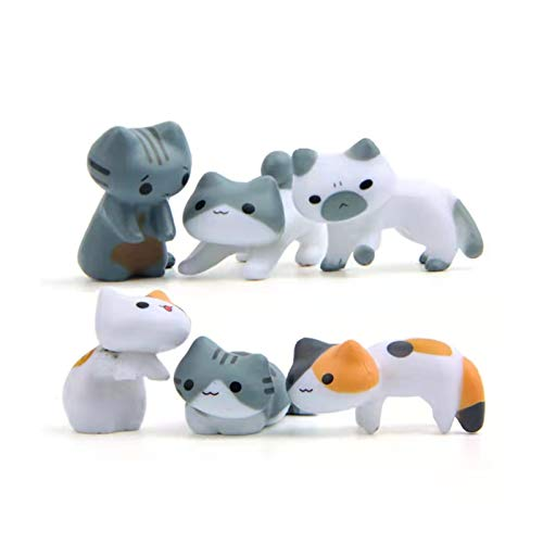 LANGU TECHNOLOGY 6Pcs Cute Mini Cat Figurine Bonsai Fairy Garden Micro Home Ornaments For Home Living Room Bedroom Table Office Desk Decoration (Color : B)