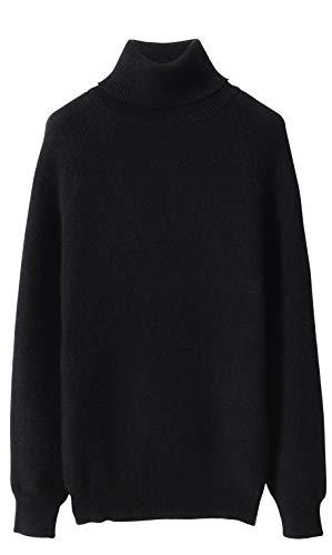 LinyXin Cashmere Damen Kaschmir Rollkragen Pullover Wolle Langarm Freizeit Winter Warm Pulli Sweater (XL / 46-48, Schwarz)