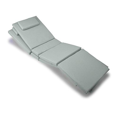 Nexos GL06027_SL2 2-er Set Liegen-Auflage Kopfkissen für Sauna Garten Terrasse hochwertig hellgrau, grau