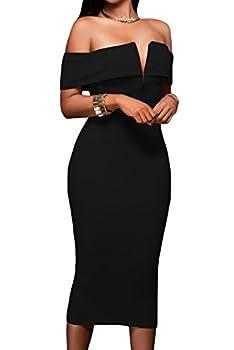 Alvaq Women s Sexy V Neck Off The Shoulder Evening Bodycon Club Midi Dress Black Small
