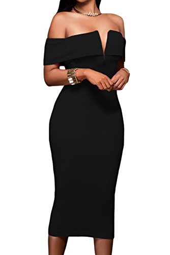 Alvaq Women's Sexy V Neck Off The Shoulder Evening Bodycon Club Midi Dress, Large, Black