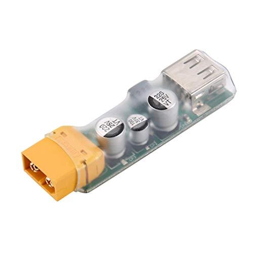 ICQUANZX Convertidor de Carga rápida XT60 a USB Compatible con batería Lipo 3S-6S, Entrada de 10.5V-32V, Salida de 3V-20V, Adaptador de Carga rápida de 45W para RC Racing Drone
