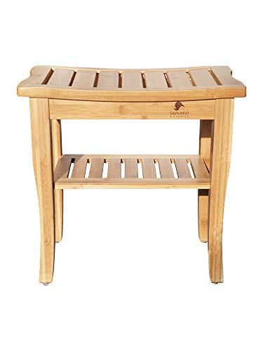 abc outdoor benches Bamboo Shower Bench, Spa Bath Seat Stool with 2-Tier Storage Shelf Wooden Shower Spa Chair Seat for Indoor Outdoor
