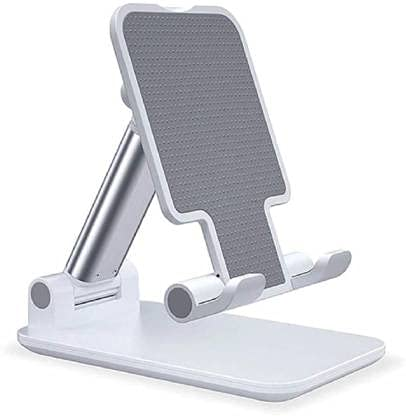 Cell Phone Stand, Angle Height Adjustable Cell Phone Stand for Desk, Fully Foldable Cell Phone Holder, Tablet Stand, Case Friendly Compatible withPhone/iPad/Kindle/Tablet Phone Dock (Black)