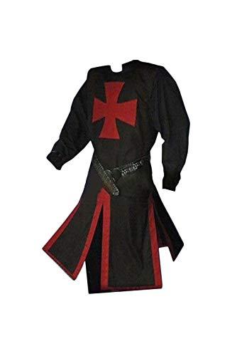 ZRDSZWZ Disfraz de caballeros medievales de caballeros templarios medievales vintage de estilo guerrero renacentista (color: negro, tamaño: XXL)