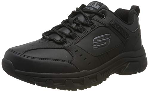 Skechers Men's Oak Canyon-Redwick Trainers, Black (Black Leather/Synthetic/Textile/Black Trim Bbk), 10 UK (45 EU)