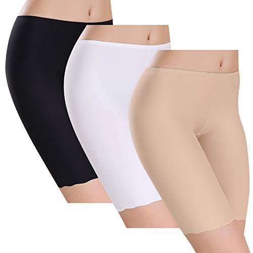 UMIPUBO Bragas Algodon Mujer Seda de Hielo Boxer Short Leggings Cortos Basic Long Pantalon Falda Leotardos de Seguridad Ropa Interior Pack de 3 (Multicolor, 40-42)