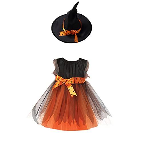 Hainice Disfraz de bruja de Halloween para nias, vestido de cors, vestido de fiesta con sombrero para fiesta de Halloween, 150 cm, 1 juego