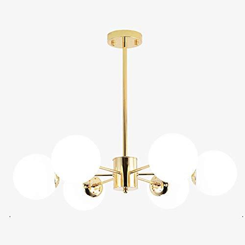 WEM Lámpara de araña Nordic Sputnik, moderna, E27, bola de cristal mate, lámpara colgante antigua, hierro forjado, lámpara de techo para salón, dormitorio, color blanco, 6 luces