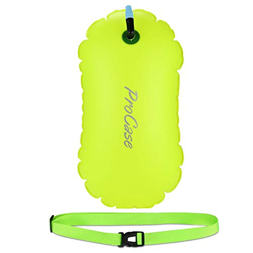 Procase Swim Buoy Float, Swimming Bubble Safety Float with Adjustable Waist Belt for Open Water Swimming, Safe Swim Training, Triathletes, Kayaking, Snorkeling -Neon Yellow