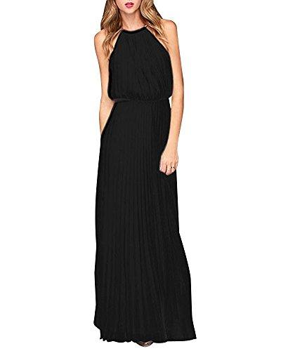 Yigoo Festliche Elegant Kleider Damen Festlich Hochzeit Neckholder Vintage Abendkleid Schulterfrei Cocktailkleid A-Linie Lang Chiffon Schwarz S