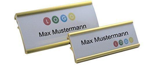 10 Uds. Aluminio Placas Identificativas Color Oro Anodizado de Metal,Dimensiones 65x22mm o 72x32 mm,Aguja / Cierre Clip,Name Badge ,Credencial para Ropa Autorrotulable Identificativas con / Clip Metal