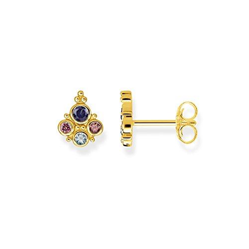 THOMAS SABO Pendientes de Mujer Royalty, Plata de Ley 925 con Piedras de Colores, Dorado