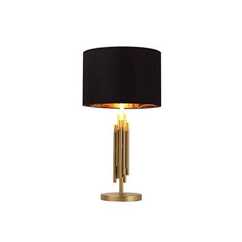 LIANGANAN Lámpara de Mesa Moderna, Pantalla de lámpara Tela lámpara de Mesa, American Brass Estilo Sala de Estudio del Cobre Hierro Tubo Mesa de luz, lámpara de Lectura (Sin la Bombilla) zhuang94