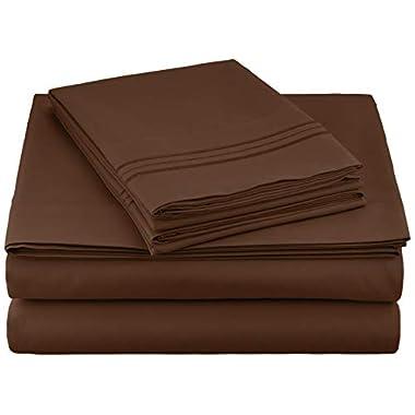 Clara Clark Premier 1800 Series 4pc Bed Sheet Set - Queen, Chocolate Brown