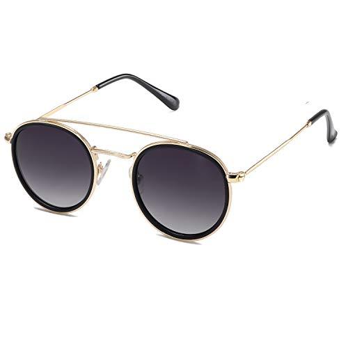 SOJOS Retro Metall Polarisiert Runde Sonnenbrille Damen Herren SJ1104 mit Gold Rahmen/Schwarz Linse