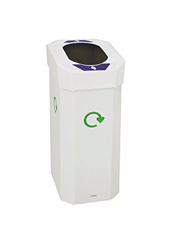 CERVIC - Papelera de Reciclaje de cartón y Tapa de plástico Aneto Office Alveolar 1 Residuo 60L (Pack 5 Uds), Talla 40 X 28 X 70 Cm. Se Monta sin pegamentos