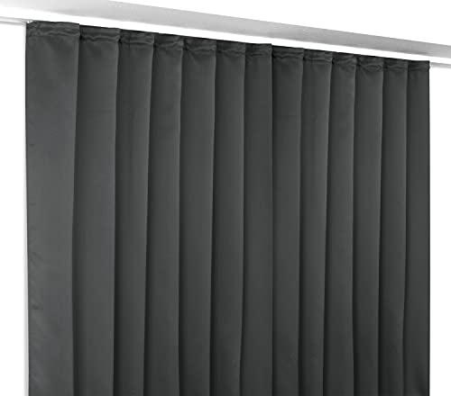 Gardinen - Vorhänge Blackout Vorhang Kräuselband Blickdicht, Verdunkelungsgardine bügelfrei 300x245 cm Farbe wählbar (Dunkelgrau)
