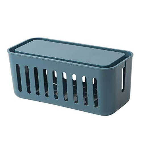 Goodvk Caja Organizadora de Cables Caja de Almacenamiento de Cable de alimentación Caja de Almacenamiento de Escritorio de plástico Multifuncional Organizador de Cable de Inicio Organizar Cables