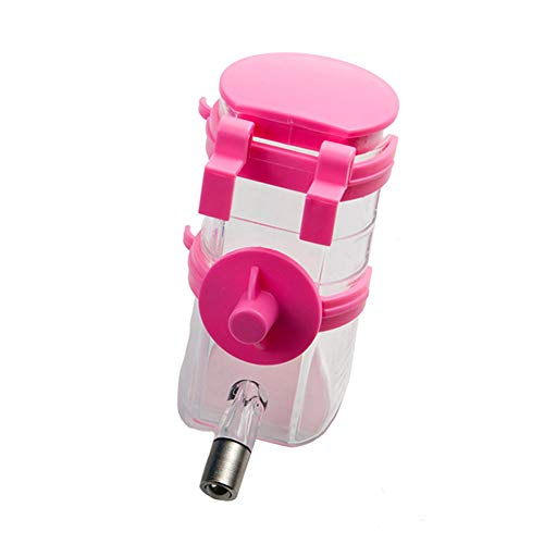 Cat and Dog Water Dispenser, Pet Cage Water Drinking,Pet-Mounted Automatic Drinking Fountain (Color : Pink)