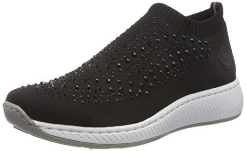Rieker Damen Frühjahr/Sommer N5532 Sneaker, Schwarz (Schwarz/Schwarz 00), 38 EU