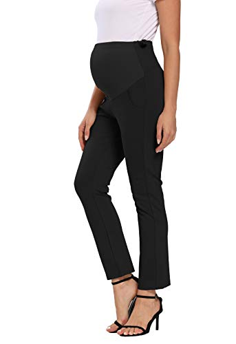 Foucome Maternity Work Pants Ove Belly High Waist Straight Leg Formal Pregnancy...