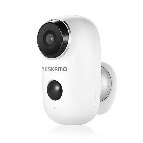 YESKAMO Überwachungskamera mit AKKU,1080P Kabellos WiFi Kamera wasserdicht intelligente IP Kamera WLAN, Bewegungsmelder, Nachtsicht Überwachungsystem Zwei Wege Audio Kamera für innen und außen