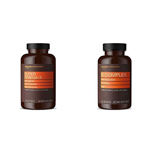 Amazon Elements Super Omega-3, Natural Lemon Flavor, 1280 mg per Serving (2 Softgels), 120 Softgels & B Complex, High Potency, 83% Whole Food Cultured, Vegan, 65 Capsules, 2 Month Supply